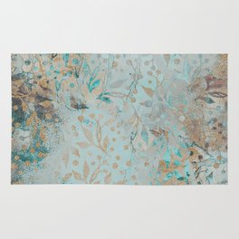 Pastel Botanical Watercolor Pattern Teal Gold Glitter Rug