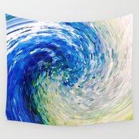 van gogh Wall Tapestries featuring Wave to Van Gogh by David Lee