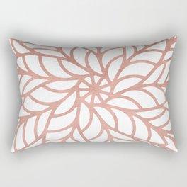 Mandala Flowery Rose Gold on White Rectangular Pillow