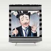 bonjour Shower Curtains featuring Bonjour by TheWildPlum