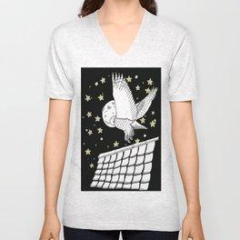 Zentangle Magical Messenger Owl Unisex V-Neck