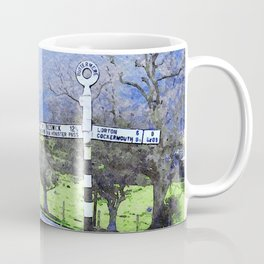 The Sign on the Road to Buttermere, Lake District, UK Watercolour Coffee Mug