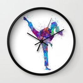 Karate Girl Colorful Martial Arts Gift Watercolor Art Wall Clock