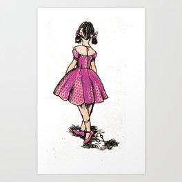 Pink Scissor Girl Art Print