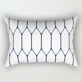 Long Honeycomb Minimalist Geometric Pattern in Nautical Navy Blue and White Rectangular Pillow