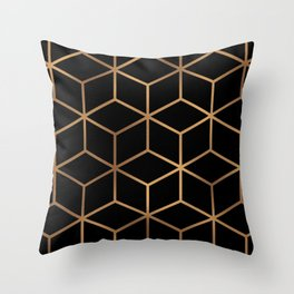 Black and Gold - Geometric Cube Design Throw Pillow