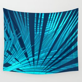 Tropical Blue Fan Palm Leaves Abstract Design Wall Tapestry