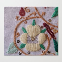 Elizabethan Embroidery Pansy Canvas Print