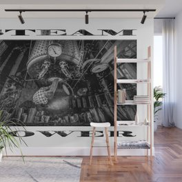 The Paddle Steamer Fireman (black & white poster edition) Wall Mural