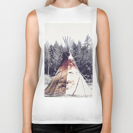 Tipi With Painted Elk And Birds Biker Tank