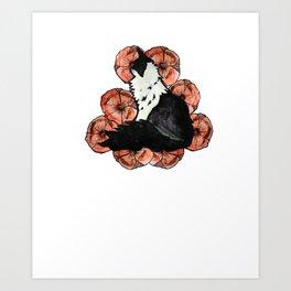 Floral Kitty Cat Art Print