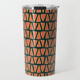 Desert Triangles - Geometric Orange and Blue Pattern Travel Mug