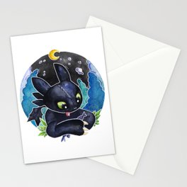 Baby Toothless Night Fury Dragon  Watercolor white bg Stationery Cards