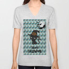 Black Cat - Happy Halloween Unisex V-Neck
