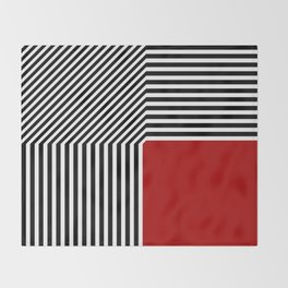 Geometric abstraction, black and white stripes, red square Throw Blanket