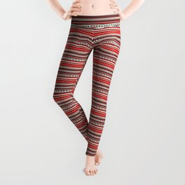 Traditional Romanian embroidery seamless pattern design Leggings