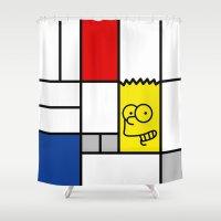 simpson Shower Curtains featuring Art Simpson by Domenic Bahmann