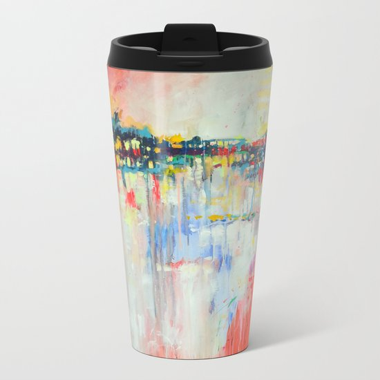 on the water,  expressive landscape, abstract Metal Travel Mug