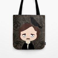 edgar allan poe Tote Bags featuring Edgar Allan Poe by Creo tu mundo