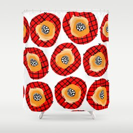 Irregular Red Circles with Black Cross Hatch Yellow Orange and Black Center. Shower Curtain