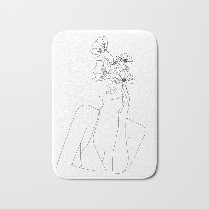 Minimal Line Art Woman with Flowers Badematte