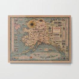 Map Of Alaska 1958 Metal Print