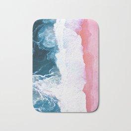 Pink Blue Ocean Aerial View Bath Mat