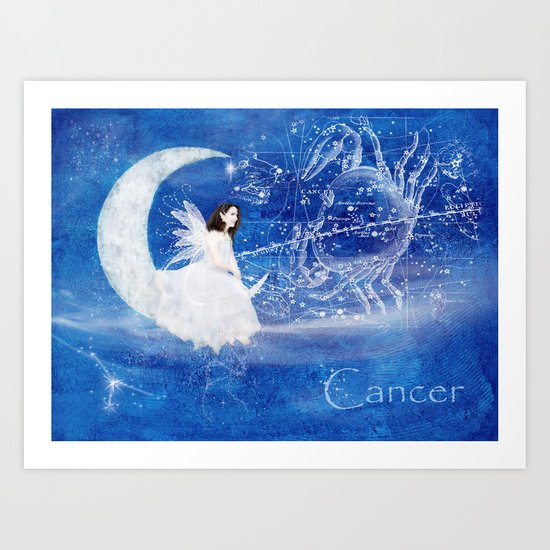 Cancer & The Moon Fairy Art Print
