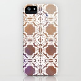 WHITE AND GOLD WATERCOLOR MOSAIC  iPhone Case