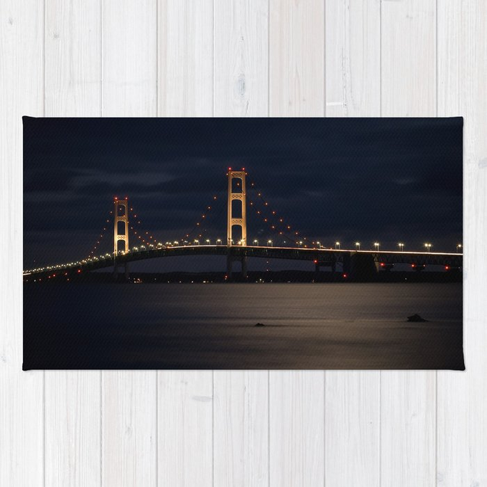 Mackinac Bridge at night Rug