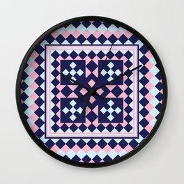 Patchwork Quilt - Pink Blue Navy Wall Clock