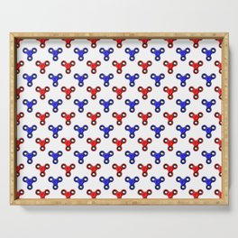 Finger Spinner Polka Dot Red and Blue Pattern Serving Tray