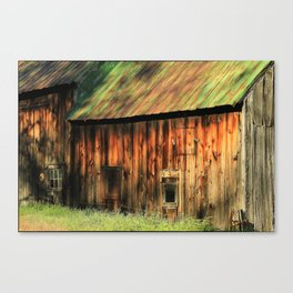 Sunrise on a weathered barn Canvas Print