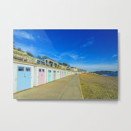 Beach Huts at Lyme Regis Metal Print