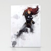 black widow Stationery Cards featuring Black Widow by Isaak_Rodriguez