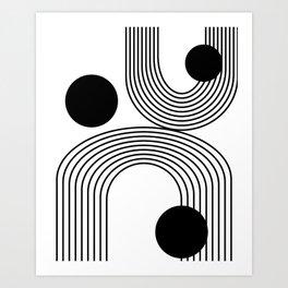 Modern Minimalist Line Art in Black and White Art Print