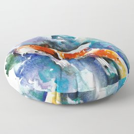 Koi Fish in the Pond - Zen Watercolor Floor Pillow