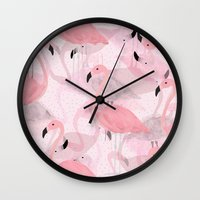 georgiana paraschiv Wall Clocks featuring Flamingo Pattern by Georgiana Paraschiv