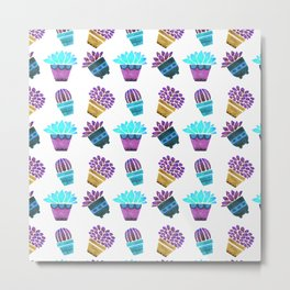Hand painted teal purple watercolor summer cactus floral Metal Print