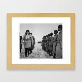 General MacArthur Inspecting Troops - Korean War Framed Art Print