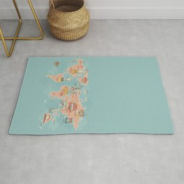 World Map Cartoon Style Rug