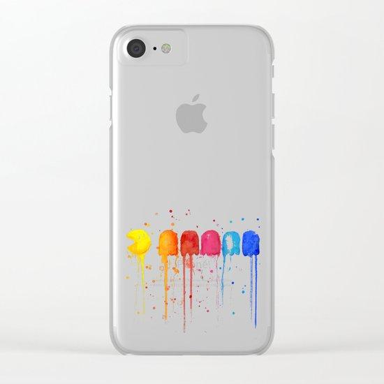 Retro Rainbow Geek Video Game Art Clear iPhone Case
