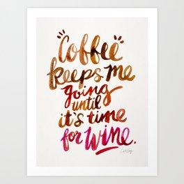 Coffee & Wine – Brown & Magenta Ombré Art Print