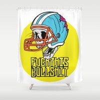 nfl Shower Curtains featuring NFL Skull by Bowman Illustration