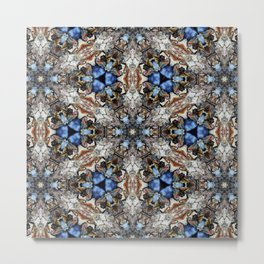 River Birch bark with blue sky kaleidoscope Metal Print
