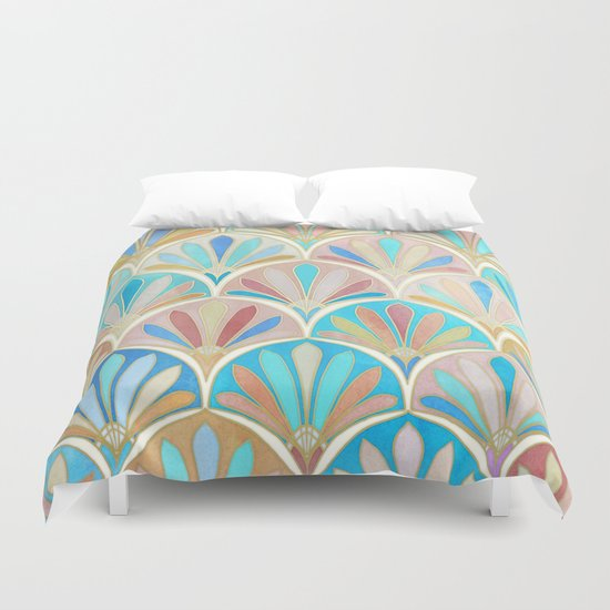 Vintage Twenties Art Deco Pastel Pattern Duvet Cover By