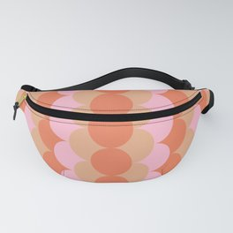 Abstract Floral Geometric Circles Pattern in Muted Orange and Pink Fanny Pack