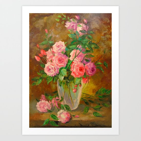 A bouquet of roses in vase Art Print