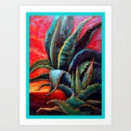 Southwest-western Style Desert Agave in Sunrise Art Print