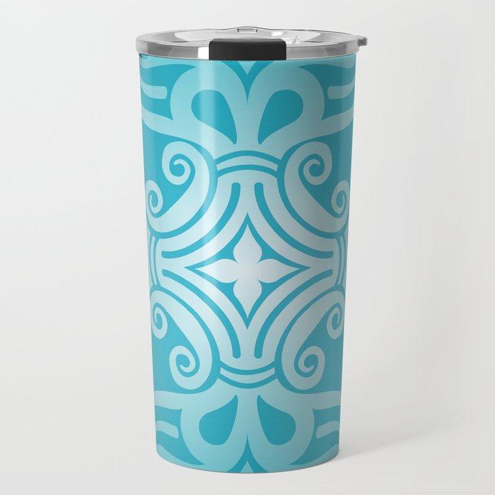 HUNGARIAN ORNAMENTS - Femininity mandala in turquoise Travel Mug